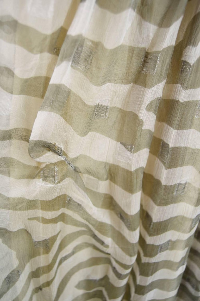 Bruce Oldfield Vintage 1980s Cream Silk Chiffon Striped Strapless Party Dress For Sale 5