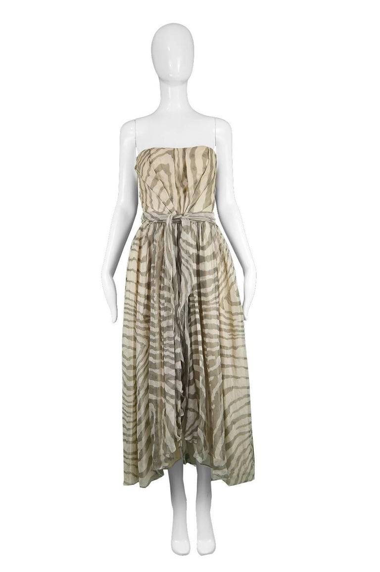 """Bruce Oldfield Vintage 1980s Cream Silk Chiffon Striped Strapless Party Dress  Estimated Size: UK 6-8/ US 2-4/ EU 34-36. Please check measurements. Bust - 32"""" / 81cm Waist - 24"""" / 61cm Hips - Free Length (Bust to Hem) - 42"""" / 106cm  Condition: Very"""