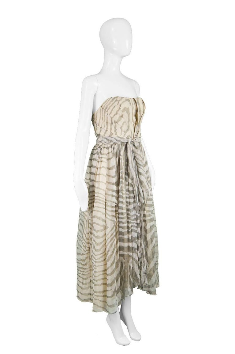 Gray Bruce Oldfield Vintage 1980s Cream Silk Chiffon Striped Strapless Party Dress For Sale