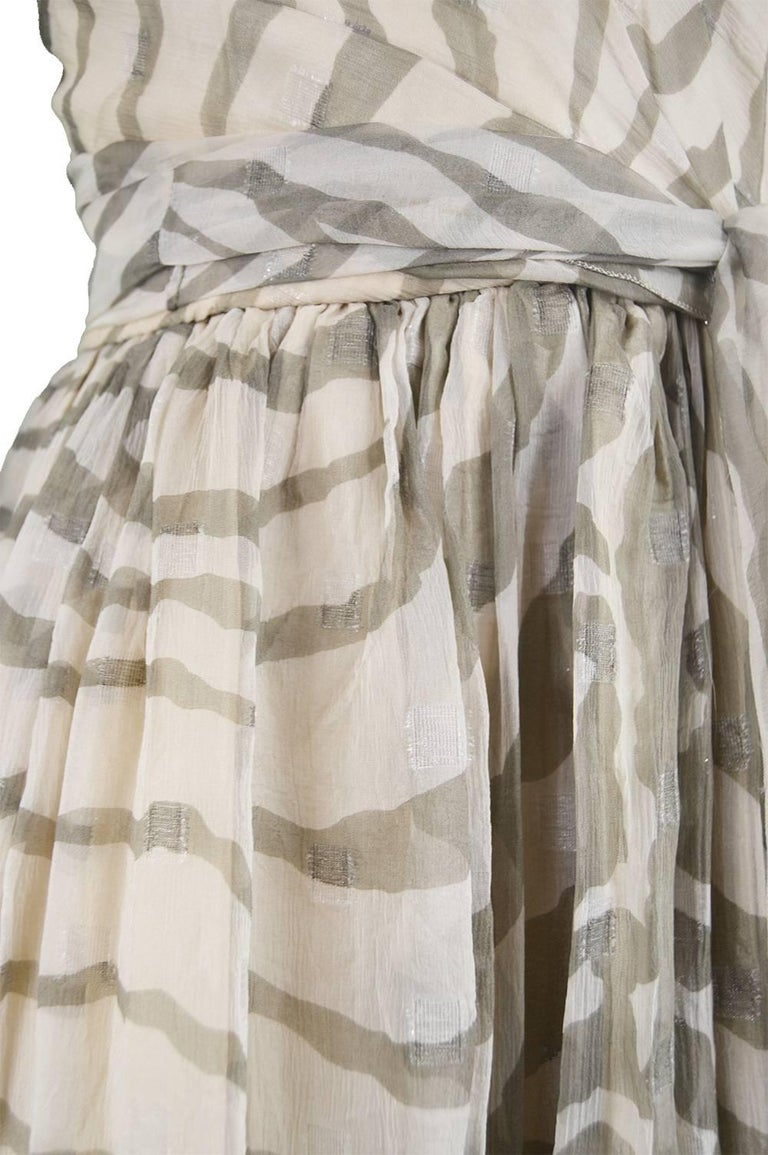 Bruce Oldfield Vintage 1980s Cream Silk Chiffon Striped Strapless Party Dress For Sale 1