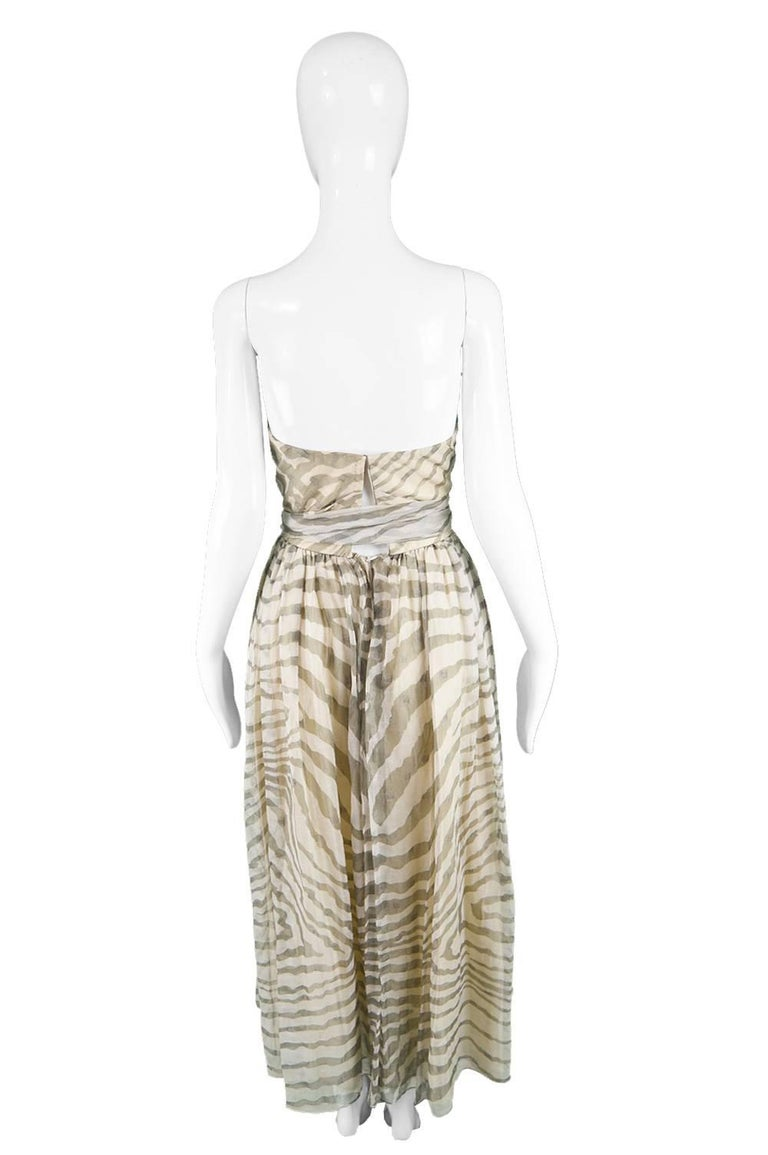 Bruce Oldfield Vintage 1980s Cream Silk Chiffon Striped Strapless Party Dress For Sale 2
