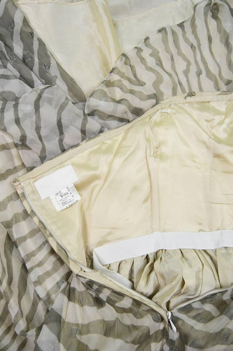 Bruce Oldfield Vintage 1980s Cream Silk Chiffon Striped Strapless Party Dress For Sale 3