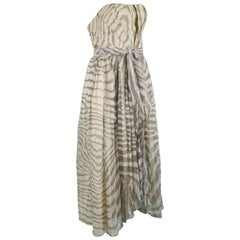 Bruce Oldfield Vintage 1980s Cream Silk Chiffon Striped Strapless Party Dress