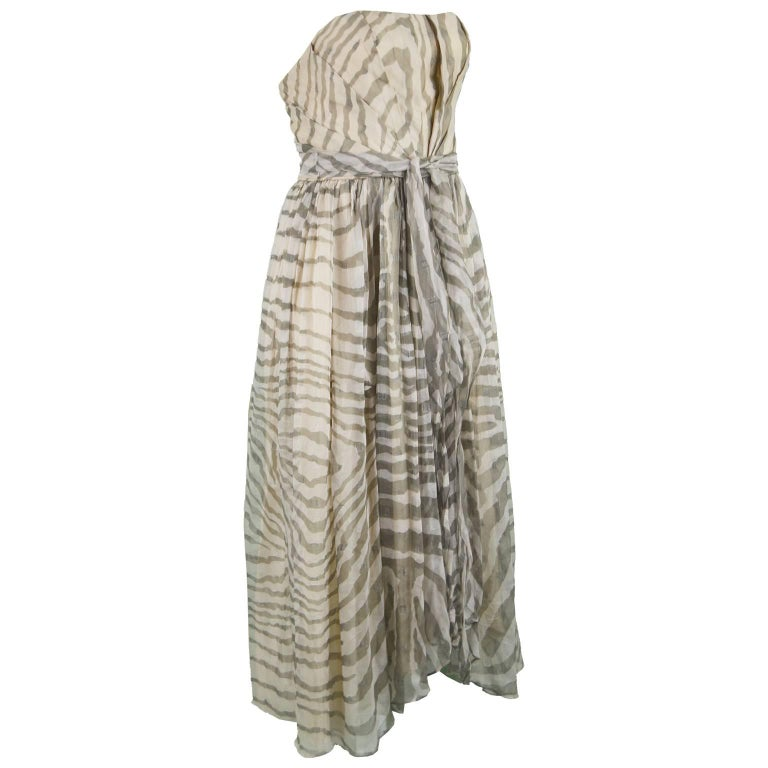 Bruce Oldfield Vintage 1980s Cream Silk Chiffon Striped Strapless Party Dress For Sale