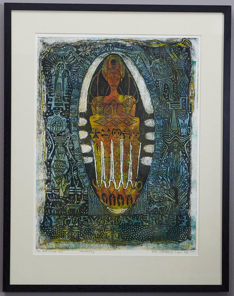 Ofeto (Orange Base), edition 6/15, deep etching by Bruce Onobrakpeya (Nigerian, born 1932), Lagos September 1971.