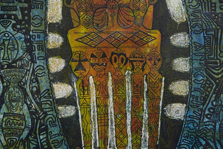 Etched Bruce Onobrakpeya, Ofeto 'Orange Base', Deep Etching, Lagos, 1971 For Sale