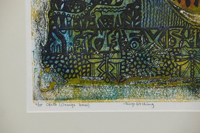 Bruce Onobrakpeya, Ofeto 'Orange Base', Deep Etching, Lagos, 1971 For Sale 1