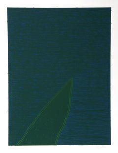 Blue/Green Abstract Lithograph by Bruce Porter