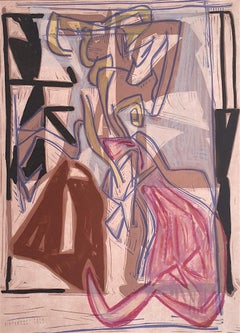 Composition 2: Beige Pink Modernist Abstract, Signed Lithograph Linocut, Jazz