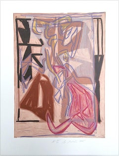Composition 2: Beige Pink Modernist Abstract, Signed Lithograph Linocut, Taupe