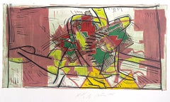 Composition 3: Rose Beige, Yellow, Lime, Signed Color Linocut Energetic Abstract
