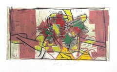Composition 3: Rose Beige, Yellow, Lime, Signed Color Linocut Modernist Abstract