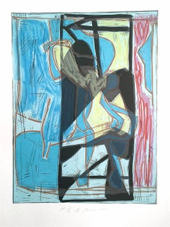 Composition 4:Blue Modernist Graffiti Abstract, Signed Lithograph Linocut, Jazz