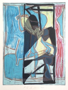 Composition 4:Blue Modernist Figurative Abstract Signed Color Lithograph Linocut