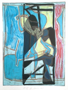 Composition 4: Blue Modernist Figurative Abstract, Signed Lithograph Linocut