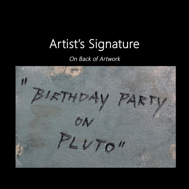 Birthday Party on Pluto - Colorful Original Artwork on Black Canvas For Sale 6