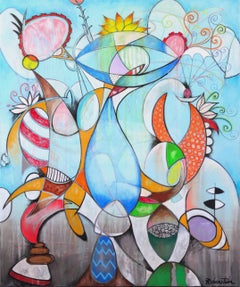 The Cat In The Hat - large original cubist painting