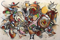 The King of the Pandemic Wonderland - large scale original abstract painting