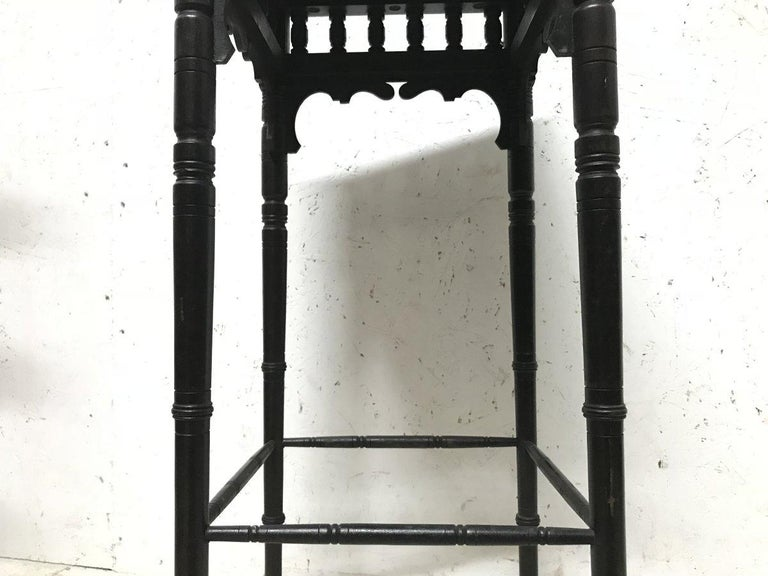 Bruce Talbert an Aesthetic Movement Ebonized Plant Stand with Inset Minton Tile For Sale 6