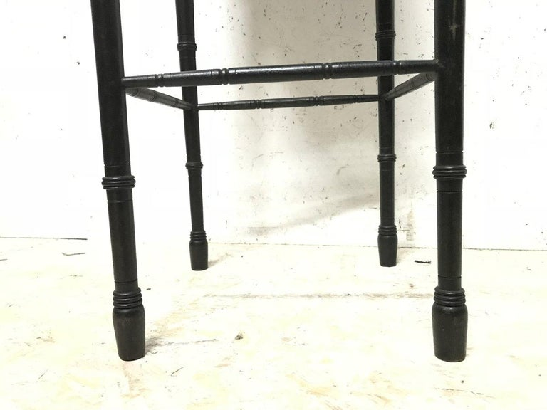Bruce Talbert an Aesthetic Movement Ebonized Plant Stand with Inset Minton Tile For Sale 7
