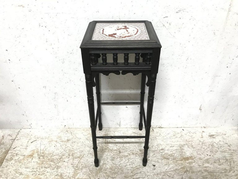 Bruce Talbert an Aesthetic Movement Ebonized Plant Stand with Inset Minton Tile In Good Condition For Sale In London, GB