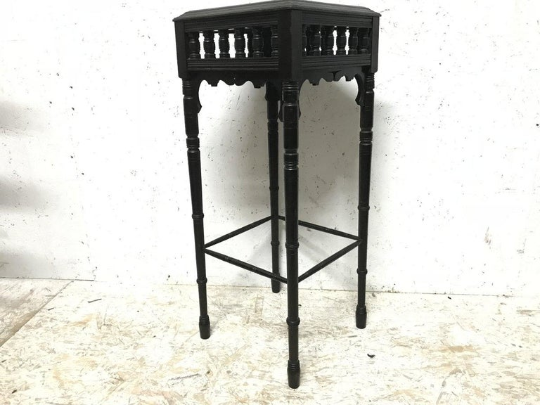 Late 19th Century Bruce Talbert an Aesthetic Movement Ebonized Plant Stand with Inset Minton Tile For Sale