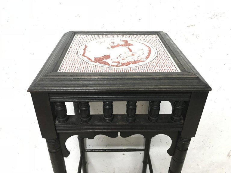 Ceramic Bruce Talbert an Aesthetic Movement Ebonized Plant Stand with Inset Minton Tile For Sale
