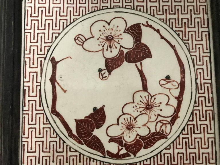 Bruce Talbert an Aesthetic Movement Ebonized Plant Stand with Inset Minton Tile For Sale 3