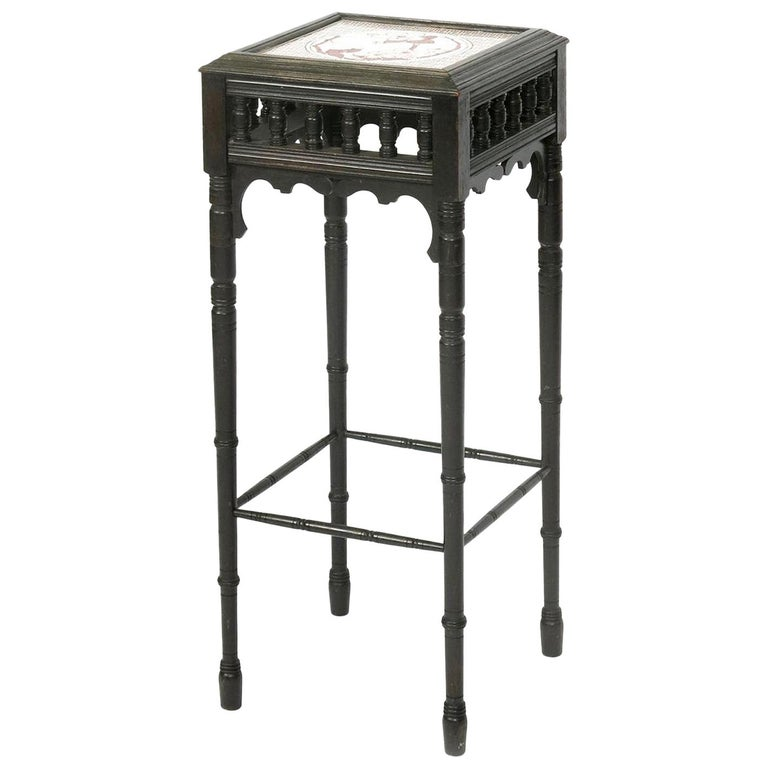 Bruce Talbert an Aesthetic Movement Ebonized Plant Stand with Inset Minton Tile For Sale