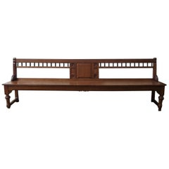 Bruce Talbert, attr, a Long Aesthetic Movement Oak Bench with Carved Florets