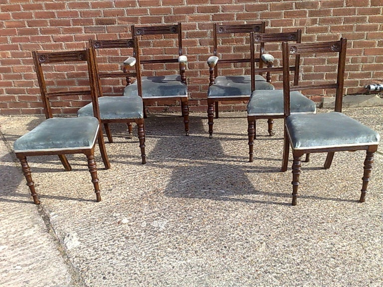 English Bruce Talbert Attri Six Aesthetic Movement Oak Dining Chairs with Carved Florets For Sale