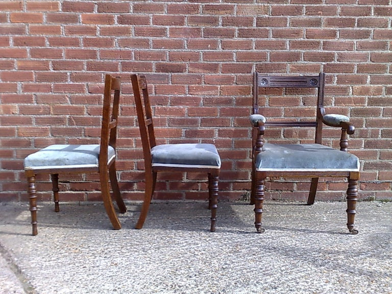 Bruce Talbert Attri Six Aesthetic Movement Oak Dining Chairs with Carved Florets In Good Condition For Sale In London, GB