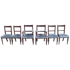 Bruce Talbert Attri Six Aesthetic Movement Oak Dining Chairs with Carved Florets