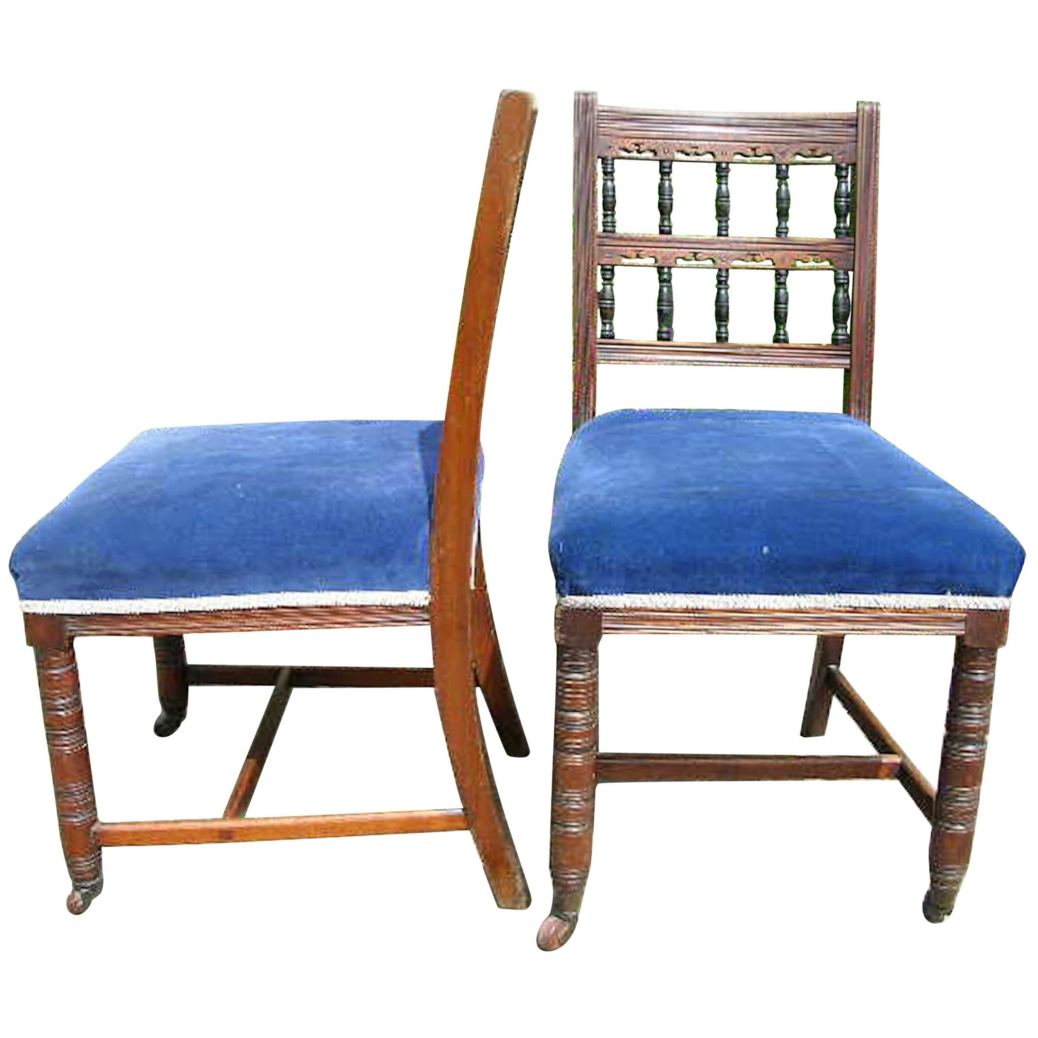 Bruce Talbert Gillows Attri, a Pair of Aesthetic Movement Oak Upholstered Chairs
