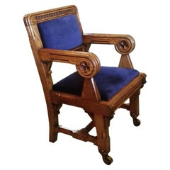 Bruce Talbert, Gillows, Two Rare Gothic Revival Oak Armchair in Blue Upholstery