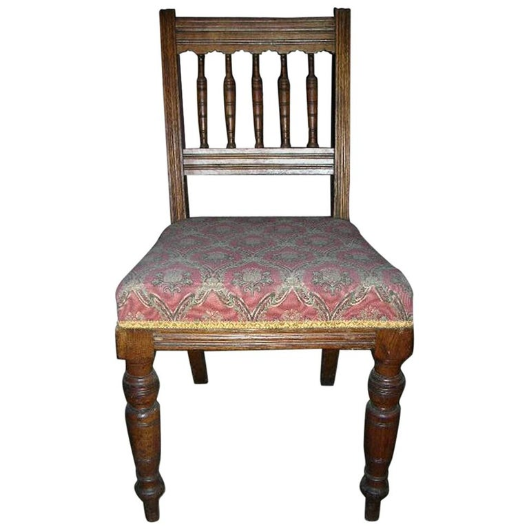 Bruce Talbert Style, Aesthetic Movement Oak Dining Chair with Elongated Turnings For Sale