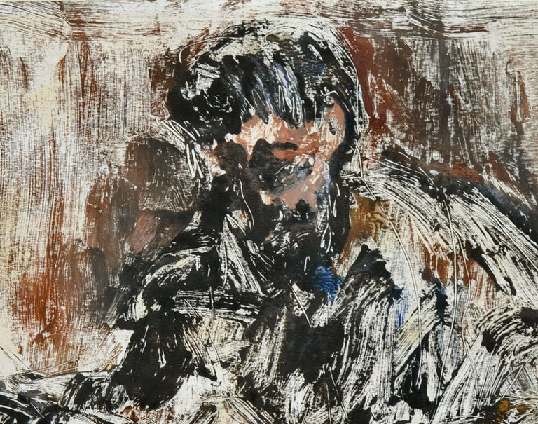 Mid-century, Bay Area artist's mono-print self portrait, one of one, with oil in earth tones and a bit of blue and white on ivory paper. Original painting attributed with confidence to Bruce Weinberg (American, 1942-1994). Monotype: the artist