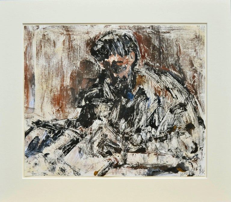 Bruce Weinberg Abstract Print - The Print Maker - Mid Century Figurative Abstract