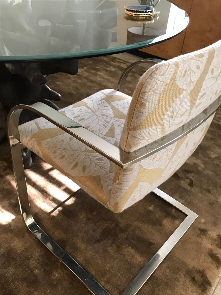 Brueton Cantilevered Chrome Desk Chair with Woven Tropical Print, circa 1970s For Sale 2