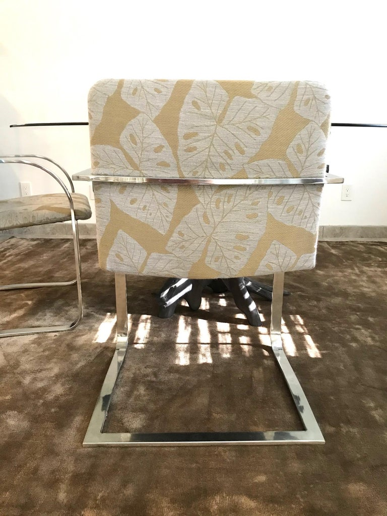 Polished Brueton Cantilevered Chrome Desk Chair with Woven Tropical Print, circa 1970s For Sale
