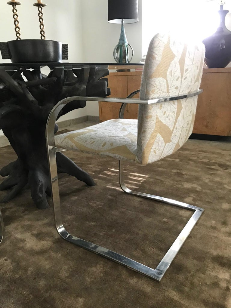 Late 20th Century Brueton Cantilevered Chrome Desk Chair with Woven Tropical Print, circa 1970s For Sale