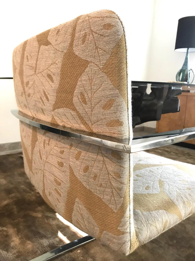 Stainless Steel Brueton Cantilevered Chrome Desk Chair with Woven Tropical Print, circa 1970s For Sale