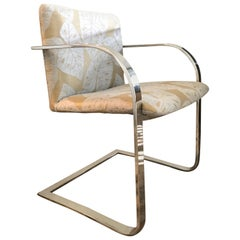 Brueton Cantilevered Chrome Desk Chair with Woven Tropical Print, circa 1970s