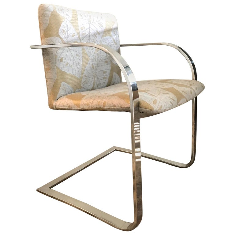 Brueton Cantilevered Chrome Desk Chair with Woven Tropical Print, circa 1970s For Sale