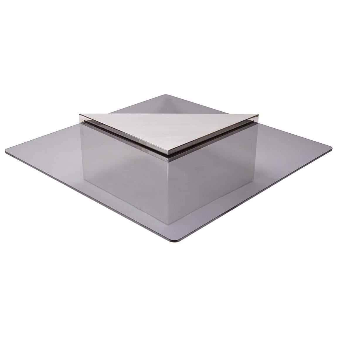 Brueton Cantilevered Glass and Polished Steel Coffee Table