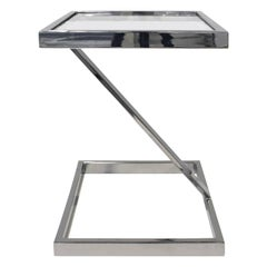 Brueton Cantilevered Side Table in Chrome and Glass, 1970s