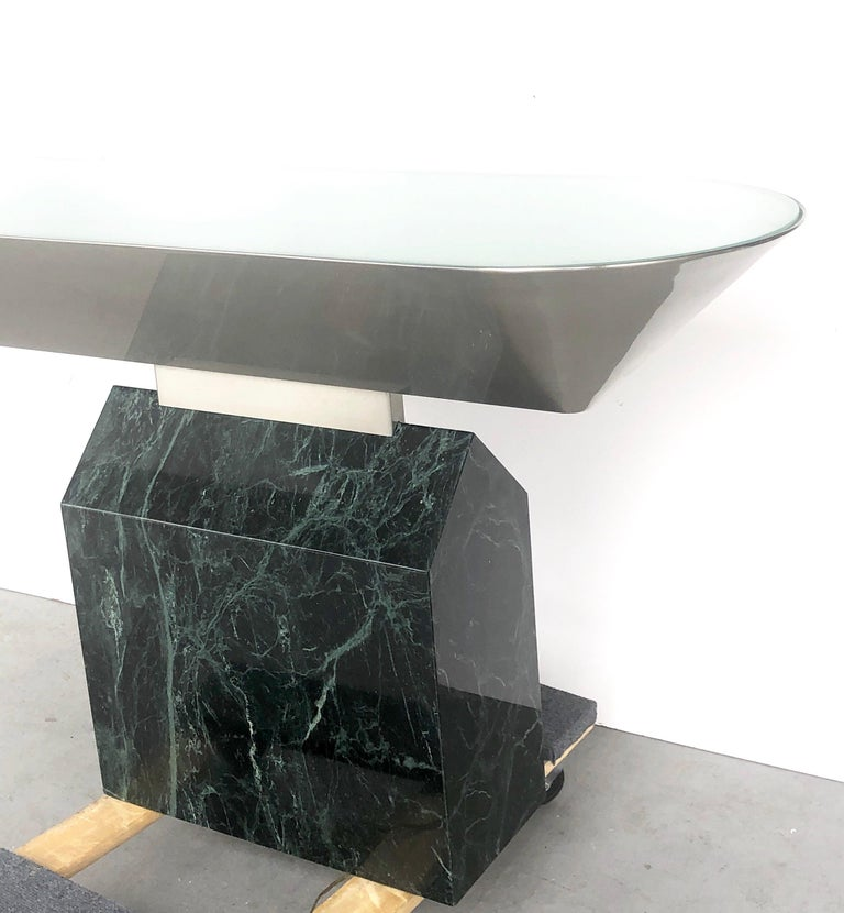 Brueton Console Table Illuminated Stainless Steel and Marble by J. Wade Beam For Sale 7