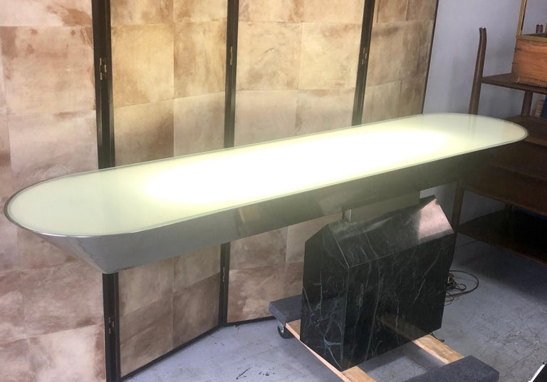 American Brueton Console Table Illuminated Stainless Steel and Marble by J. Wade Beam For Sale