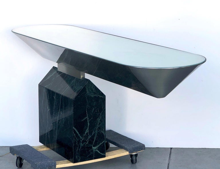 Brueton Console Table Illuminated Stainless Steel and Marble by J. Wade Beam In Good Condition For Sale In Miami, FL