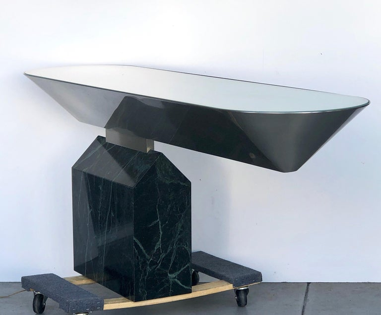 Late 20th Century Brueton Console Table Illuminated Stainless Steel and Marble by J. Wade Beam For Sale